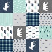woodland moose bear fishing patchwork fabric w/ grey  (90)