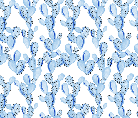 blue paddle cactus fabric by ivieclothco on Spoonflower - custom fabric