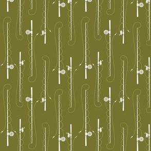 Fishing poles on moss
