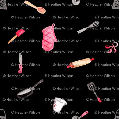 Kitchen Tools on Black