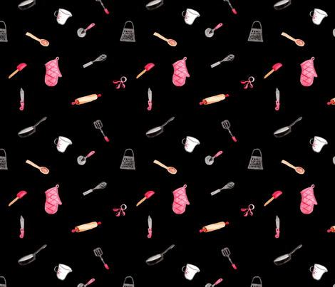 Kitchen Tools on Black fabric by geekygamergirl on Spoonflower - custom fabric