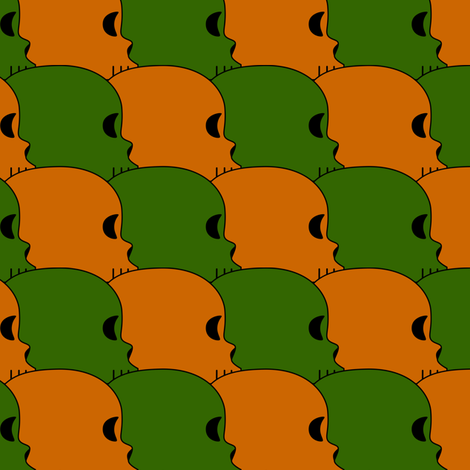 Green and Orange Skulls fabric by merrywrath on Spoonflower - custom fabric