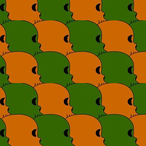 Green and Orange Skulls