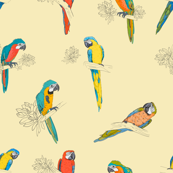 Yellow Ara Parrots Pattern