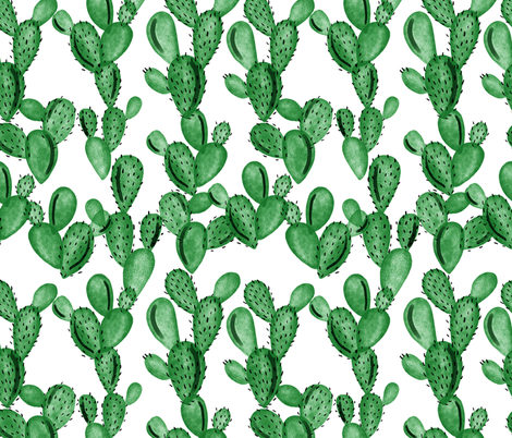 emerald paddle cactus fabric by ivieclothco on Spoonflower - custom fabric