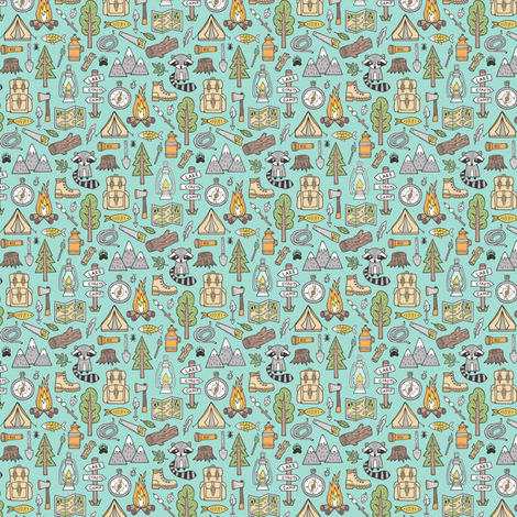 Outdoors Camping Woodland Doodle with Campfire, Raccoon, Mountains, Trees, Logs on Mint Green  Tiny Small fabric by caja_design on Spoonflower - custom fabric