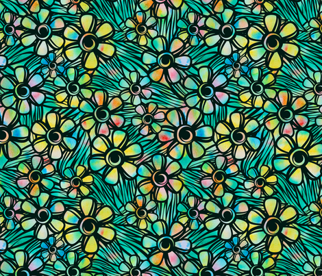Paper Cut Floral Overlay fabric by wildnotions on Spoonflower - custom fabric