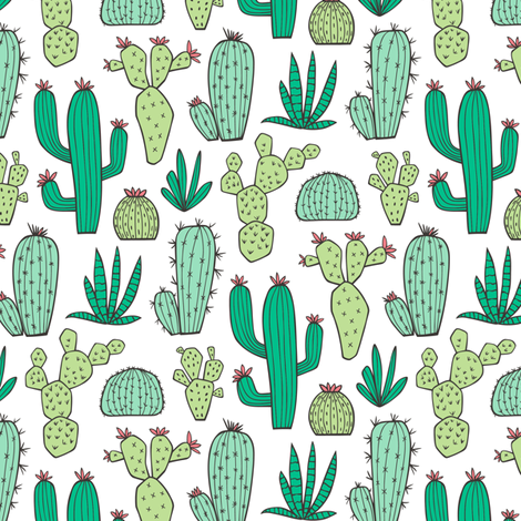 Cactus on White Smaller fabric by caja_design on Spoonflower - custom fabric