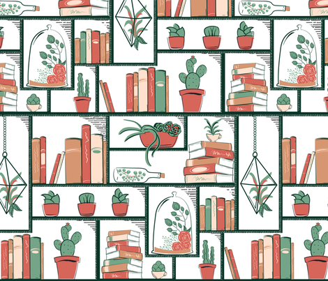 Succulents on Modular Bookcase fabric by jennifer_todd on Spoonflower - custom fabric