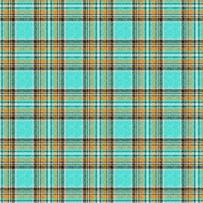 Nty74: (VERY SMALL SCALE) Cooler Stewart plaid in Turquoise, Mustard + Orange Linen-weave by Su_G