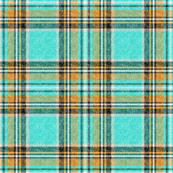 Nty74: (SMALL SCALE) Cooler Stewart plaid in Turquoise, Mustard + Orange Linen-weave by Su_G