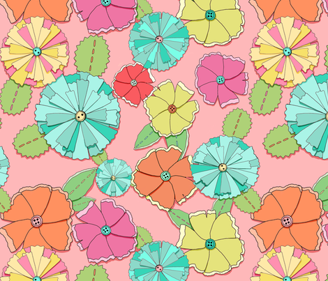 Paper posies fabric by beesocks on Spoonflower - custom fabric