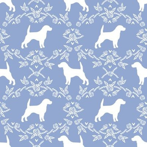 Beagle silhouette with florals cerulean