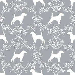 Beagle silhouette with florals grey