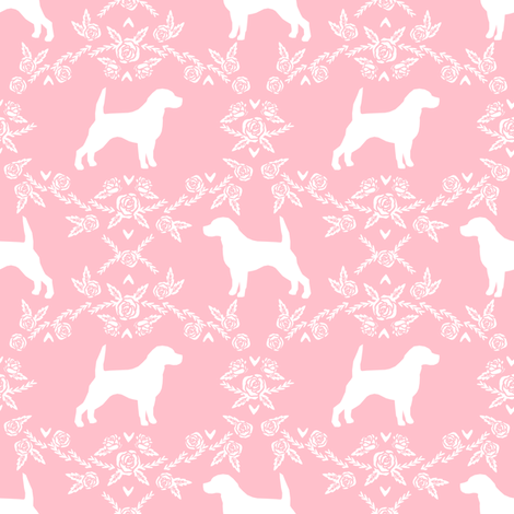 Beagle silhouette with florals pink fabric by petfriendly on Spoonflower - custom fabric