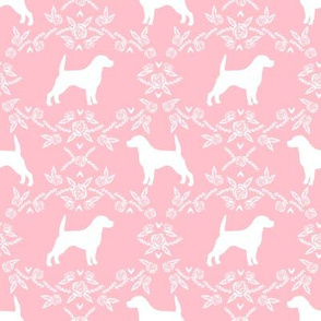 Beagle silhouette with florals pink