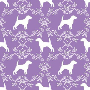 Beagle silhouette with florals purple
