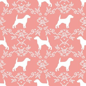 Beagle silhouette with florals sweet pink