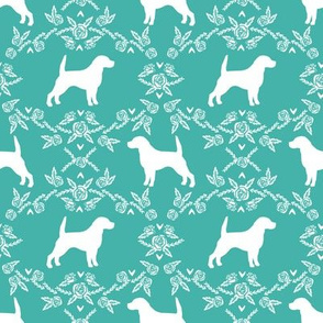 Beagle silhouette with florals turquoise