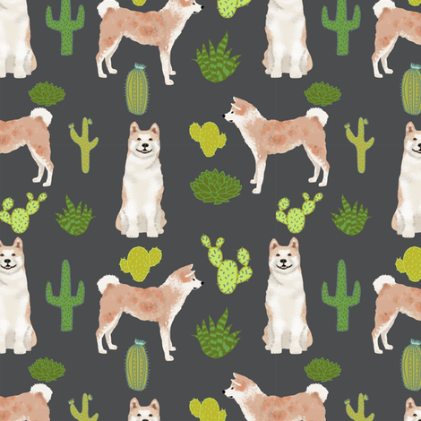 Akita cactus fabric charcoal fabric by petfriendly on Spoonflower - custom fabric