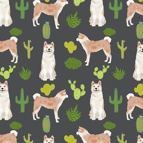 Akita cactus fabric charcoal