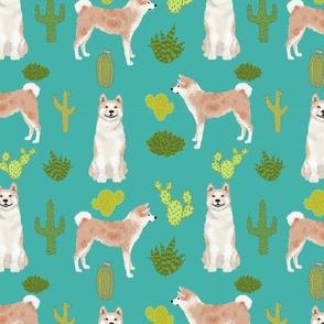 Akita cactus fabric turquoise