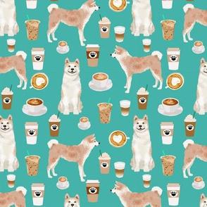Akita coffee fabric turquoise