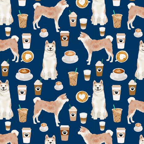 Akita coffee fabric navy fabric by petfriendly on Spoonflower - custom fabric