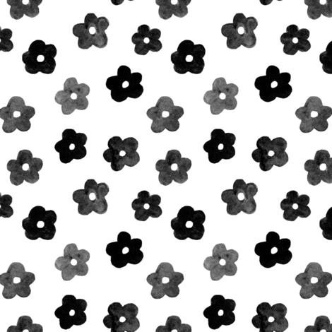 Black Daisy Ditsy fabric by j_e_c_scott on Spoonflower - custom fabric