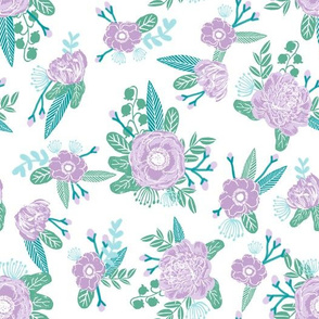 floral fabric purple turquoise nursery baby girls fabric