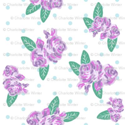 floral fabric purple flowers fabric mini dots