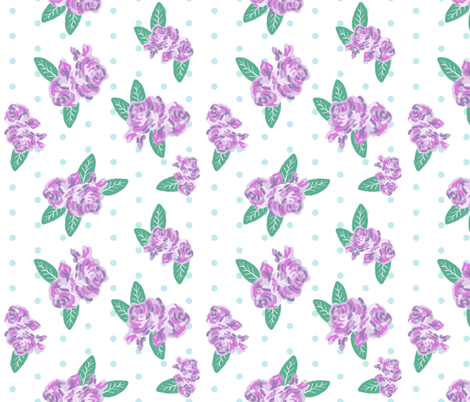 floral fabric purple flowers fabric mini dots fabric by charlottewinter on Spoonflower - custom fabric