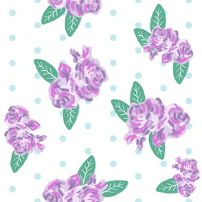 floral fabric purple flowers fabric mini dots