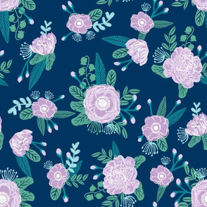 floral fabric navy purple turquoise fabric
