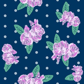 navy floral fabric flowers purple fabric