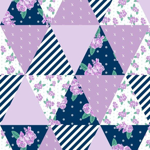 floral triangle cheater quilt turquoise and purple, navy florals nursery girls fabric
