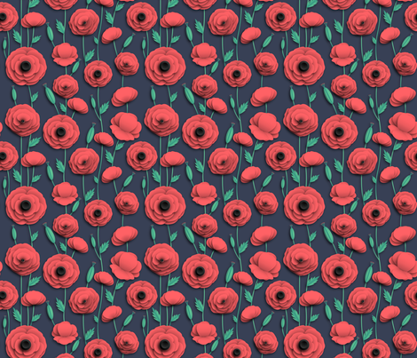 Red poppies fire red fabric by kotyplastic on Spoonflower - custom fabric