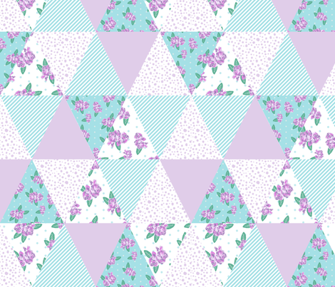 floral triangle cheater quilt turquoise and purple florals nursery girls fabric fabric by charlottewinter on Spoonflower - custom fabric