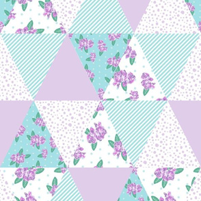 floral triangle cheater quilt turquoise and purple florals nursery girls fabric