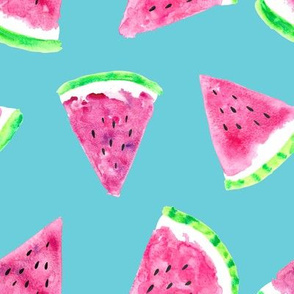watermelon slices - blue || fruit fabric