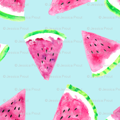 watermelon slices - light blue || fruit fabric