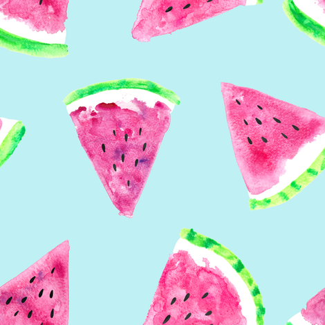 watermelon slices - light blue || fruit fabric fabric by littlearrowdesign on Spoonflower - custom fabric