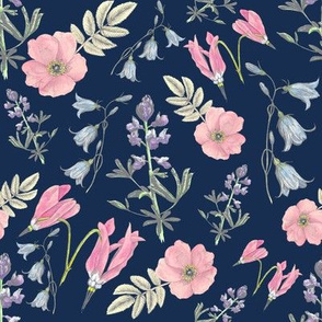 Watercolor wildflowers navy large