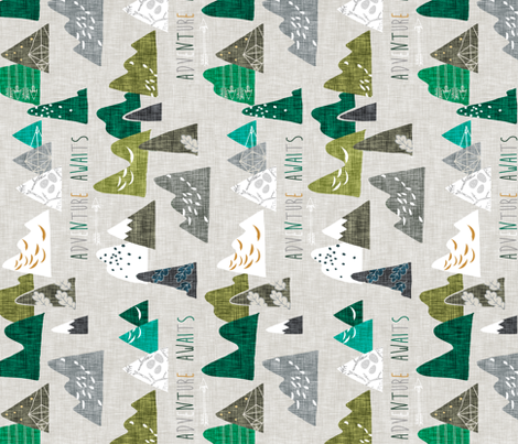 Adventure Awaits GREEN regular RAILROAD   fabric by nouveau_bohemian on Spoonflower - custom fabric