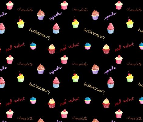 Cupcakes on Black fabric by geekygamergirl on Spoonflower - custom fabric
