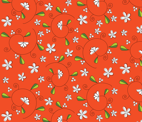Tiny Vine with Berries on Orange fabric by vanillabeandesigns on Spoonflower - custom fabric