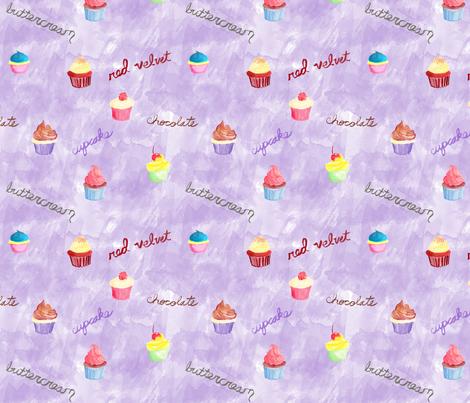 Cupcakes on Purple fabric by geekygamergirl on Spoonflower - custom fabric