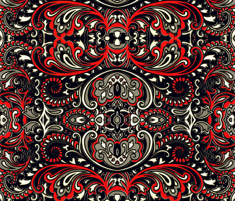 Large 3D paisley fabric by whimzwhirled on Spoonflower - custom fabric