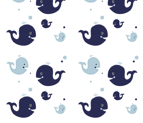 Ezra Nursery Navy Whales fabric by sweet_peach on Spoonflower - custom fabric