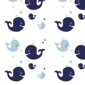 Ezra Nursery Navy Whales